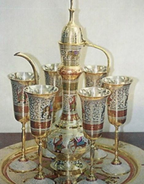 Brass Cattal with Vine Glass and Try